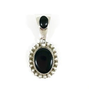 Sterling Silver .925 Onyx Cabochon Pendant Taxco